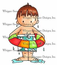 Summer Swim Boy Carson Unmounted Rubber Stamp Whipper Snapper Designs CY784 NEW