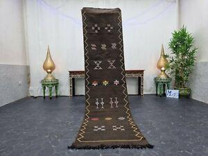 "Moroccan Handmade Cactus Silk rug  2'2""x8'6"" Sabra Berber Abstract Brownish Rug"