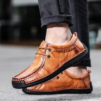 Mens Driving Flats Oxfords  Soft Leather Shoes Low Top Handmade Casual  Shoes
