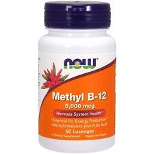 NOW Foods Methyl B12 5000 mcg + Folic Acid Energy Production - 60 Lozenges