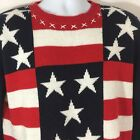 Red White Blue Patriotic Stars Stripes Pullover Knit Sweater Top Size M/L