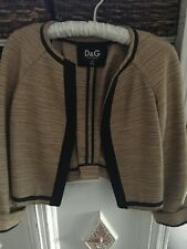 Dolce & Gabbana Tan Metallic Gold Black Trim Woven Bolero Jacket SZ 38