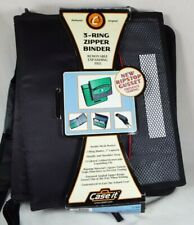 Case It 3 Ring Zipper Binder W Strap Amp Removable Expandable File Grayblack New