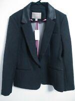 $140 New Banana Republic Womens Size 10 Dark Charcoal Gray/Black Blazer Jacket