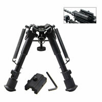 Harris Style Bipod 6'' 20MM Rifle Clamp Retractable Swivel Tilt Tripod + Adapter