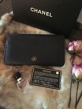 Authentic CHANEL Coco Button Bifold Long Wallet Clutch Leather Black CHIC!!