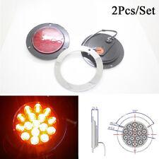 2Pcs Round Red LED Tail Light 12V-24V Back-up Reverse Lamp For Truck Trailer RV