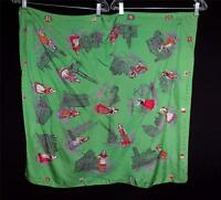 """RARE VINTAGE 1960'S ETHNIC COSTUMES OF ITALY PRINTED GREEN SILK SCARF 31"""" X 31"""""""