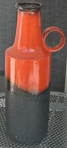 48 cm Bodenvase, 70ger,  Scheurich, W.Germany ❌ 412-48 ❌ rot schwarz fat Lava