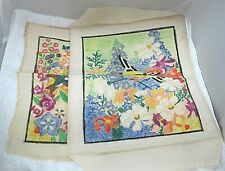 Pair Hand Painted Bird and Flower Pictures on Fabric Wax Colored 12 x 10 In T76