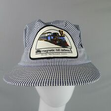 Magnetic Hill Railway Engineer Hat Cap Snap Back Blue White Striped NB Canada