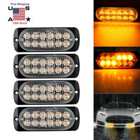 4X 12 LED Strobe Light Bar Truck Hazard Beacon Flash Warning Emergency 18W Amber