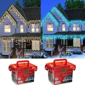 CHRISTMAS 480/720/960/1200 LED ICICLE SNOWING XMAS CHASER LIGHTS OUTDOOR IN TUB