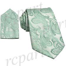 New Brand Q Men's Micro Fiber Paisley Neck Tie & Hankie Set mint green formal