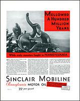 1930 Dinosaur Fight Sinclair Mobiline Motor Oil Penn vintage art print ad  L17