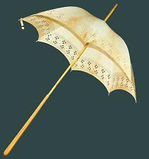 Antique Edwardian Embroidered Eyelet Lace Cotton Parasol Umbrella Wood