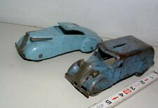 * 1940s Marx Two Pressed Steel Toy Cars One Was A Coin Bank With Wood Wheels