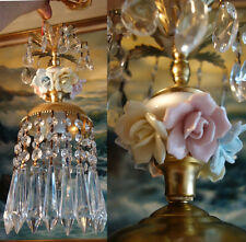 Porcelain Rose Brass chandelier Ceiling canopy vintage lamp crystal prisms light
