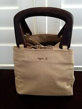 Agnes B Small Beige Tote Handbag with Wooden Handles Japan