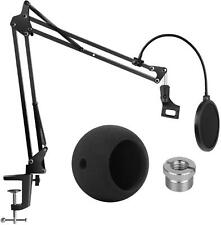 InnoGear Blue Snowball Microphone Stand with Microphone Windscreen and Dual Mic