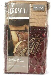 "1 Count Croscill Roena 26"" X 26"" Burgundy 100% Polyester European Pillow Sham"