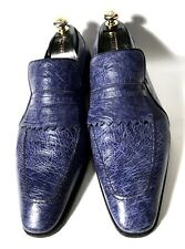 Artioli Blue Ostrich Leather Shoes Loafers Size 44, UK-10, US-11