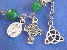 Custom Rosary Bracelet Emerald Jade Stainless Metal Trinity Knot Celtic Cross