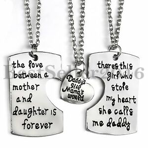Daddy Mom Daughter 3 Piece Love Dog Tag Pendant Necklaces Set Family Jewelry