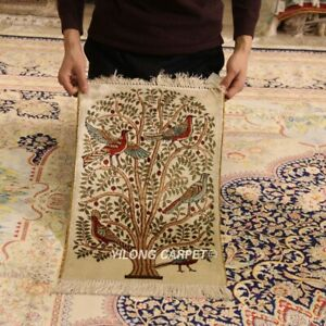 YILONG 1.2x1.7' 300L Hand Woven Tree of Life Silk Carpet Area Tapestry  LH693A