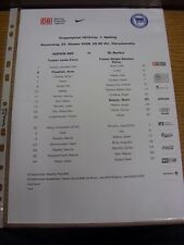 23/10/2008 Colour Teamsheet: Hertha Berlin v Benfica [UEFA Cup] (folded). Footy