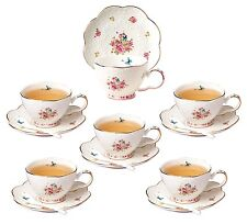 Jusalpha Elegant China Tea Cup and Saucer Set-Coffee Cup with Spoon, Set of 6