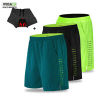 2 in 1 Mens Cycling Shorts MTB Gel Padded Mesh Liner Bike Shorts Bicycle Pants
