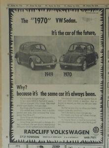 1969 newspaper ad for Volkswagen -same car as always been, '49 & '70 VW Beetle