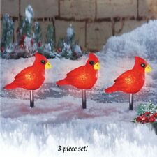 Set of 3 Cheerful Cardinal Outdoor Christmas Path Lights