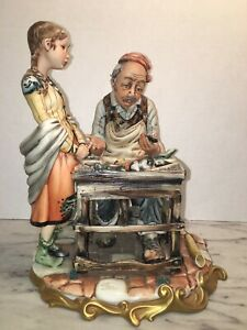 Rare Vintage Rori Capodimonte Shoemaker Teacher & Child Figurine Italy
