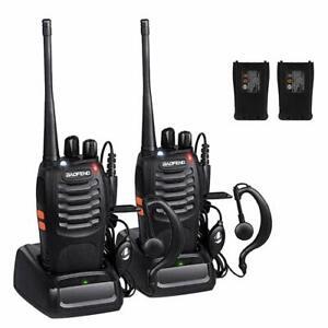 2 x Baofeng Walkie Talkies Long Range Two Way Radio UHF 16CH with Headsets UK