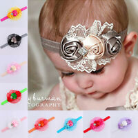 KQ_ Newborn Baby Girls Lace Flower Headband Infant Toddler Hair Band Accessory B