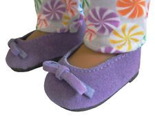 "For 18"" American Girl Doll Clothes Purple Suede Ballet Pumps Flats Shoes"