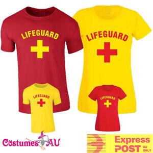 Mens Womens Beach Lifeguard Costume 80s Red Yellow Uniform T-shirt 1980s Tshirt