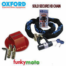 GROUND ANCHOR & OXFORD SOLD SECURE MOTORCYCLE MOTORBIKE SCOOTER 1.5M CHAIN LOCK