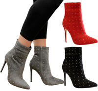 Ladies Pointed Toe Ankle Sock Boots Womens Studs Stiletto Heels Court Shoes Size