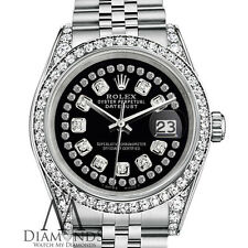 Rolex Datejust 36mm Stainless Steel Glossy Black String Diamond Dial Watch
