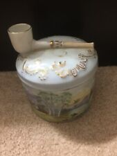 Rare Giraud Limoges, France Hand Painted Seasons Tobacco Jar c.1885 5 x 4-1/2""