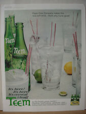 1962 Teem Soda by Pepsi Cola Crystal Clear Full Page Vintage Print Ad 10615