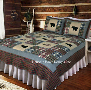 SMOKY MOUNTAIN 3pc Cal King QUILT SET : BLACK BEAR FISH RED PLAID LODGE CABIN