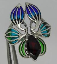 Art Nouveau Design Plique a Jour Style Sterling Silver Garnet Flower Ring-UK P