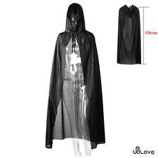Halloween Fancy Dress Deluxe Black Hooded Cloak Wedding Wicca Cape Long Vampire