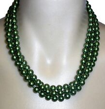 LONG PEARL STRAND NECKLACE 'GREEN'