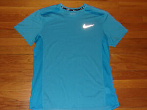 NIKE DRI-FIT SHORT SLEEVE BLUE RUNNING JERSEY MENS LARGE EXCELLENT CONDITION
