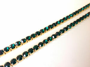 2 Meters SS16 Diamante Diamond Emerald Green Chain Gold Base Sewing Lace Ribbons